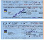 Fabíola Chiminazzo Motivo 21 (2012/2012), folhas de cheque e carimbo, 7,5 x17,5 cm(cada)