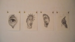 GEDLEY BELCHIOR BRAGA  Semi-Ótico Hermafrodita (autorretrato I, II, II e IV). Desenho. Caneta preta (fine line, permanent ink - 0,05mm) sobre papel Fabriano, 33cm x 24cm, 2013. Coleção Particular.