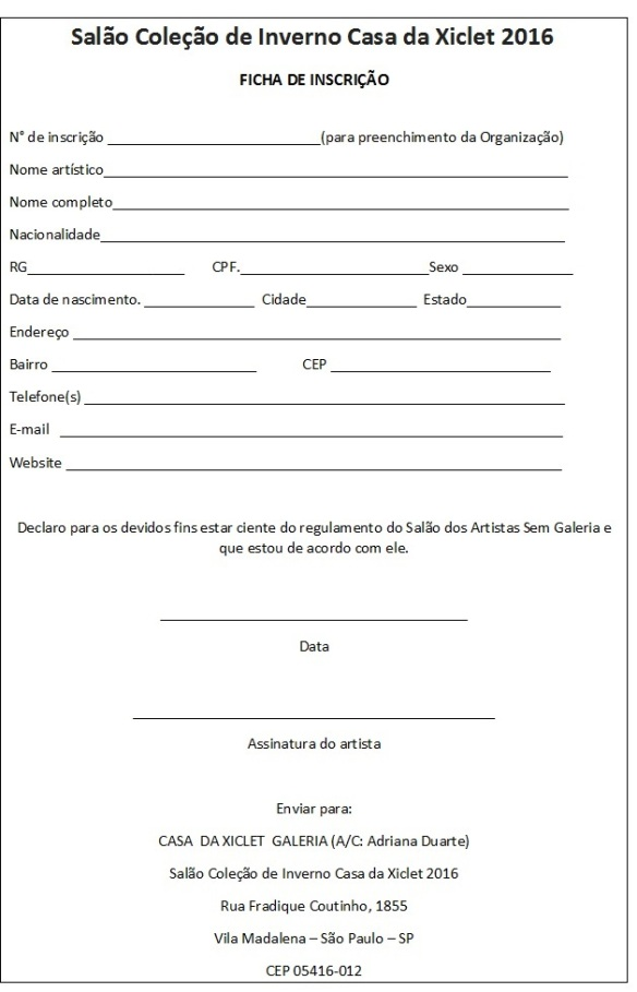 Ficha  de  Inscrição  do  Salao Inverno Casa  da Xiclet 2016