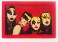 Série Kissme (moldura vermelha) Acrílica e Esmalte s/ papel colorplus metalizado 23,5 x 33 cm. 2017 R$ 250,00